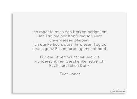 Konfirmation Danksagung als Postkarte A6 mit Foto, Motiv: Ausblick, Rückseite, Farbvariante: grau