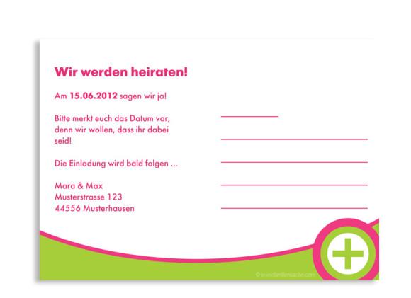 Rückseite, Einladungs-Postkarte zur Hochzeit, Motiv A+B, Farbversion: grün-pink