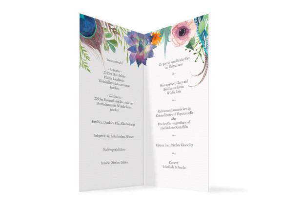 Hochzeitsmenükarten Boho, Innenansicht der Farbversion: anthrazit