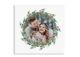 Weihnachtskarte Wintereinzug quad. Postkarte (150 x 150 mm) beerenrot