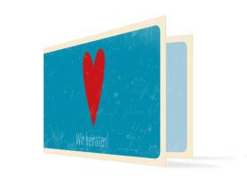 Hochzeitseinladung Vintage Heart (Klappkarte, ohne Foto) Blau