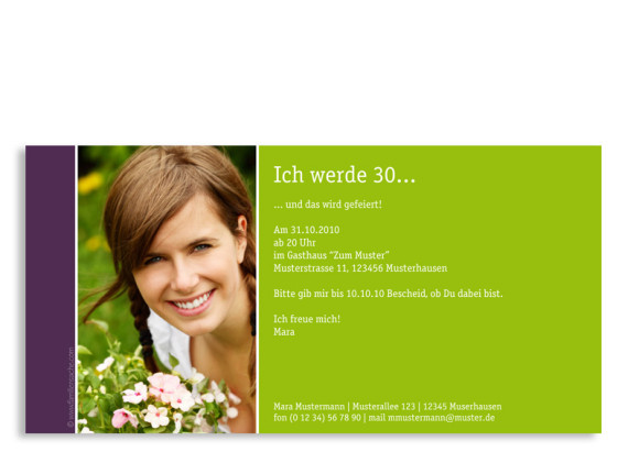 Rückseite, Einladungs-Postkarte zum Geburtstag, Motiv Party, Farbversion: grün/lila
