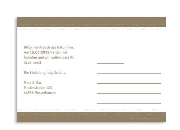 Rückseite, Einladungs-Postkarte zur Hochzeit, Motiv Paris, Farbversion: beige