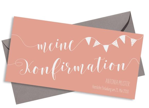 Einladungskarte zur Konfirmation (Postkarte), Motiv: Frühlingsfrisch, mit Briefhülle, Farbvariante: apricot