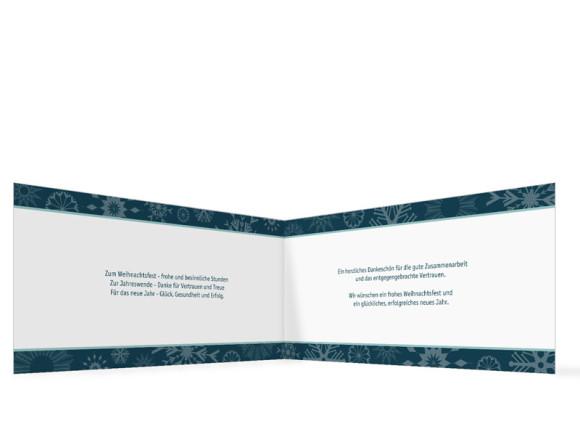 Innenansicht, Firmen-Weihnachtskarte mit Firmenlogo, Farbversion: blau