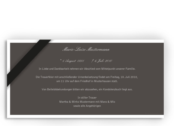 Rückseite, Trauerkarte Motiv Rose, Farbversion: grau