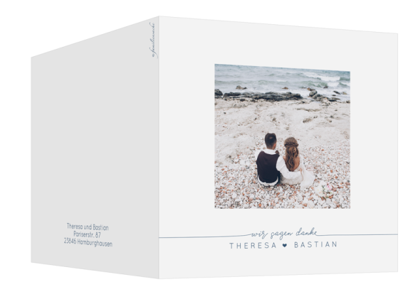 Hochzeitskarte als quadratische Klappkarte mit Fotos, Motiv: Warschau D, Aussenansicht, Farbvariante: dunkelblau