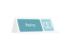 Tischkarten zur Hochzeit Kreta (Klappkärtchen quer) Dunkelblau