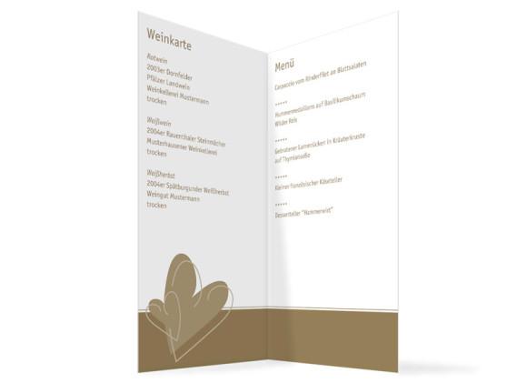 Innenansicht, Menükarte zur Hochzeit (Klappkarte), Motiv London, Farbversion: beige