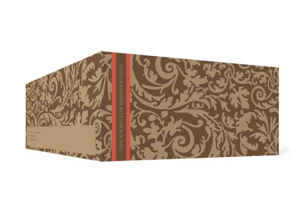 Außenansicht, Einladungs-Klappkarte zur Silbernen Hochzeit (Format DIN Lang), Motiv Rokko, Farbversion: beige/braun