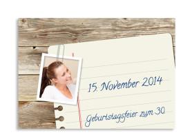 Einladungskarten zum Geburtstag Notizzettel (Postkarte) Braun