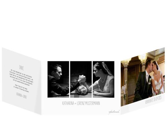 Danksagungskarte zur Hochzeit Blanche, Außenansicht der Farbversion: weiß