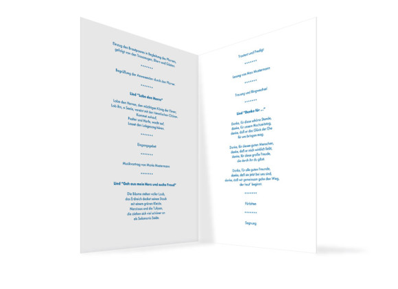 Innenansicht, Klappkarte zur Hochzeit (Kirchenheft), Motiv Stockholm, Farbversion: blau