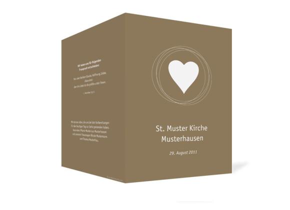 Außenansicht, Klappkarte zur Hochzeit (Kirchenheft), Motiv Pur, Farbversion: beige-weiss