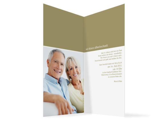 Innenansicht, Einladungskarte zur Silberhochzeit (Klappkarte), Motiv Colour, Farbversion: beige