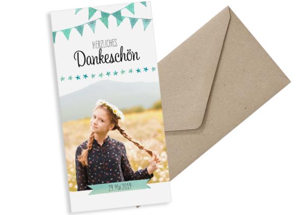 Danksagung zur Kommunion (Postkarte DL hochformat mit Foto), Motiv: Stimmung, mit Briefhülle, Farbvariante: gruen