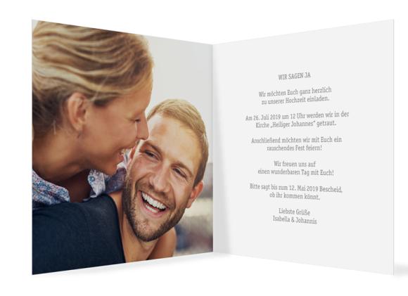 Einladungskarten Hochzeit (Klappkarte quadratisch mit Foto), Motiv: Gent Pure, Innenansicht, Farbvariante: grau