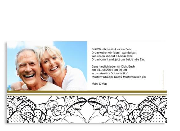 Rückseite, Einladungs-Postkarte zur Silberhochzeit, Motiv Spitze, Farbversion: beige