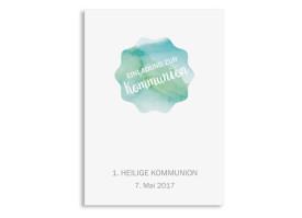 Postkarte Kommunionseinladung Sonne Grün