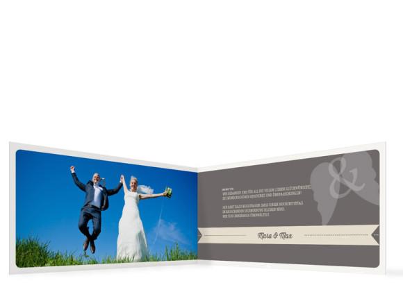 Hochzeit Danksagungen Flugticket, Innenansicht der Farbversion: beige
