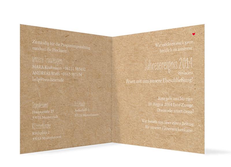 Klappkarte); Hochzeitseinladungen Luzern, Innenansicht Der Farbversion:  Beige ...