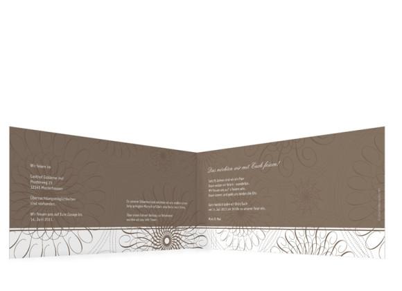 Innenansicht, Einladungs-Klappkarte zur Silbernen Hochzeit (Format DIN Lang), Motiv Mandala, Farbversion: beige
