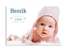 Geburtskarte Hanna/Henrik (Postkarte, mit Foto) Blau