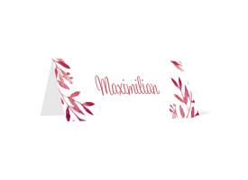 Tischkarten zur Hochzeit Blätterkranz Rot