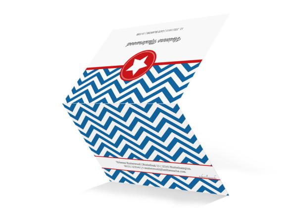 Einladungen Hamptons Star, Außenansicht der Farbversion: blau/rot