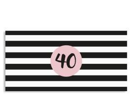 Einladungskarte Lucky Stripes zum 40. Geburtstag (Postkarte, DL) Puder