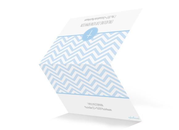 Einladungskarte zur Konfirmation Hamptons Cross, Außenansicht in Hellblau