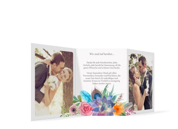 Hochzeitsdanksagungen Boho, Innenansicht in anthrazit