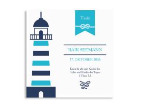 Einladungskarte zur Taufe Rike/Raik (quad. Postkarte) Aqua
