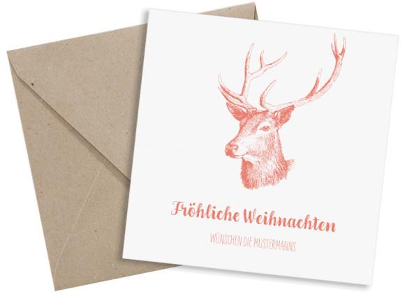 Weihnachtsgrüße, Motiv: Pure Deer, quadratische Postkarte mit drei Fotos, mit passendem Kuvert, Farbvariante: apricot