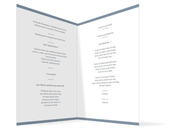 Innenansicht, Klappkarte zur Hochzeit (Kirchenheft), Motiv Saint Tropez, Farbversion: blau