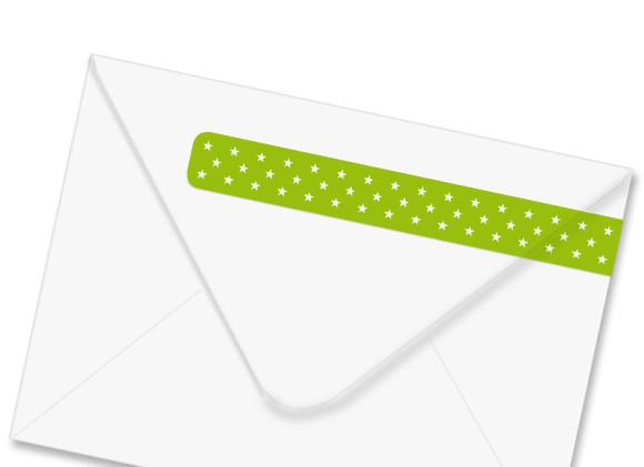 Rückseite Umschlag, Adressbanderole Sternchen, Farbversion: apfelgrün