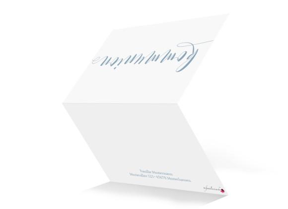 Einladungskarten zur Kommunion Calligraphy, Außenansicht in Petrol