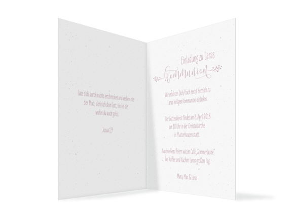 Kommunionseinladung (Klappkarte A6, ohne Foto, Vintage), Motiv: Blumenkranz, Innenansicht, Farbvariante: Altrosa
