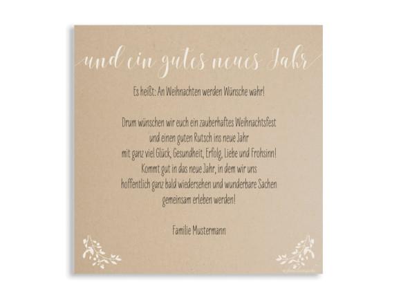 Weihnachtskarte Mistelkranz, quadratische Postkarte, Rückseite in altweiß