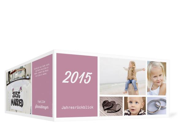 Neujahrskarten Efie/Eddy, Außenansicht der Farbversion: brombeer
