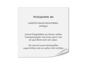 Bedruckte Einlegeblätter 118x118 (Transparentpapier) Transparent