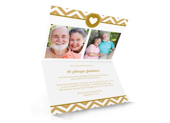 Goldene Hochzeit Einladung Hamptons Heart, Innenansicht der Farbversion: beige