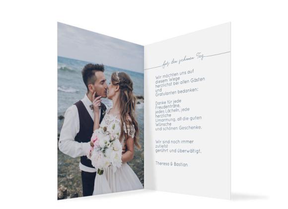 Danksagung zur Hochzeit (Klappkarte A6), Motiv: Warschau, Innenansicht, Farbvariante: Dunkelblau