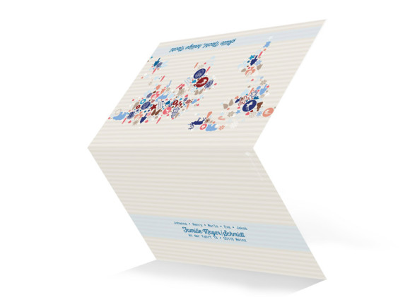 Weihnachtskarten Weltkarte, Außenansicht der Farbversion: blau