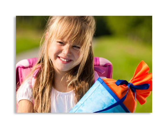 Rückseite, Einschulungskarte, Motiv Schultüte, Farbversion: orange