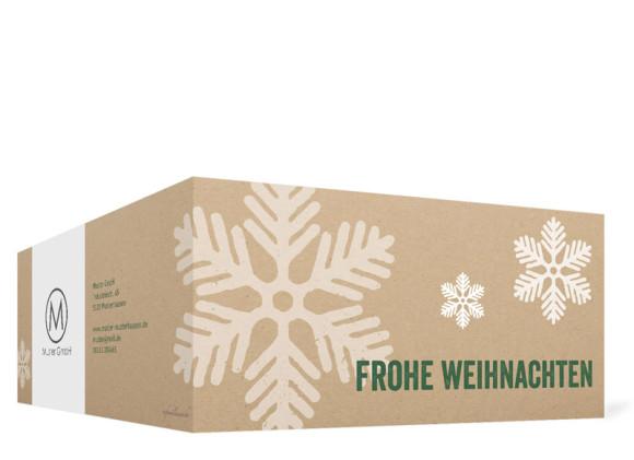Firmen-Weihnachtskarten Eissterne selbst gestalten, Außenansicht in grün