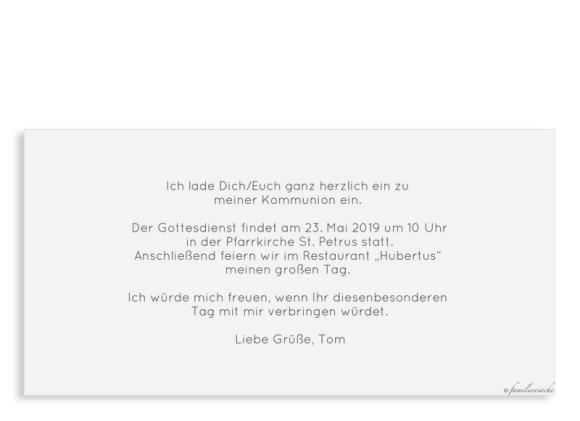 Einladungskarte zur Kommunion (Postkarte DL mit 4 Fotos), Motiv: Weg, Rückseite, Farbvariante: hellblau