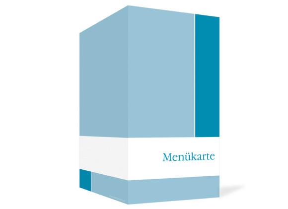 Außenansicht, Menükarte zur Hochzeit (Klappkarte), Motiv Helsinki, Farbversion: blau