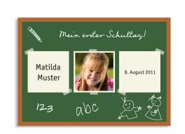 Postkarte zur Einschulung Tafel (mit zwei Fotos)