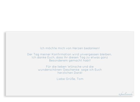 Danksagung Konfirmation (Postkarte DL mit 4 Fotos), Motiv: Ziel, Rückseite, Farbvariante: blautuerkis